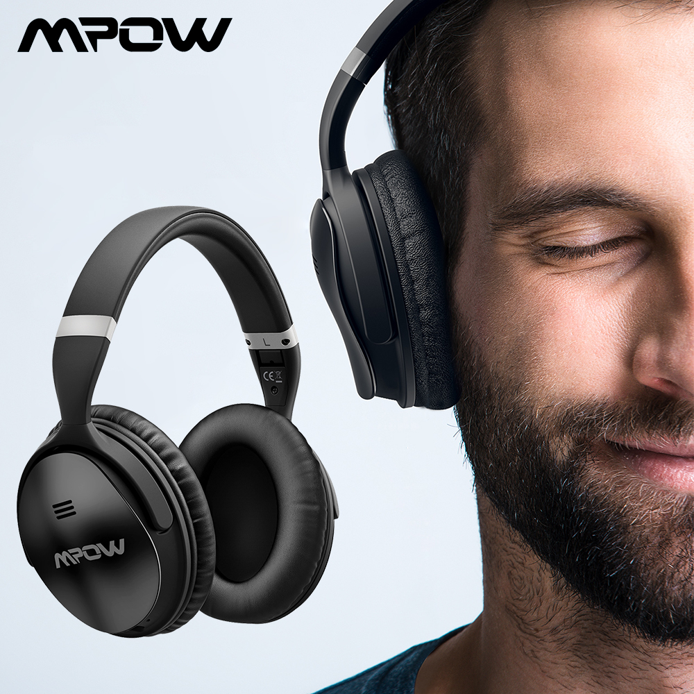 Original Mpow H5 Wireless Bluetooth Headphones With Mic Active Noise Cancelling Headphone With Carrying Bag For PC TV Smartphone mpow 059 bluetooth 4 0 headphones wireless headphone headset with built in mic foldable headband for smartphone pad pc tablet tv