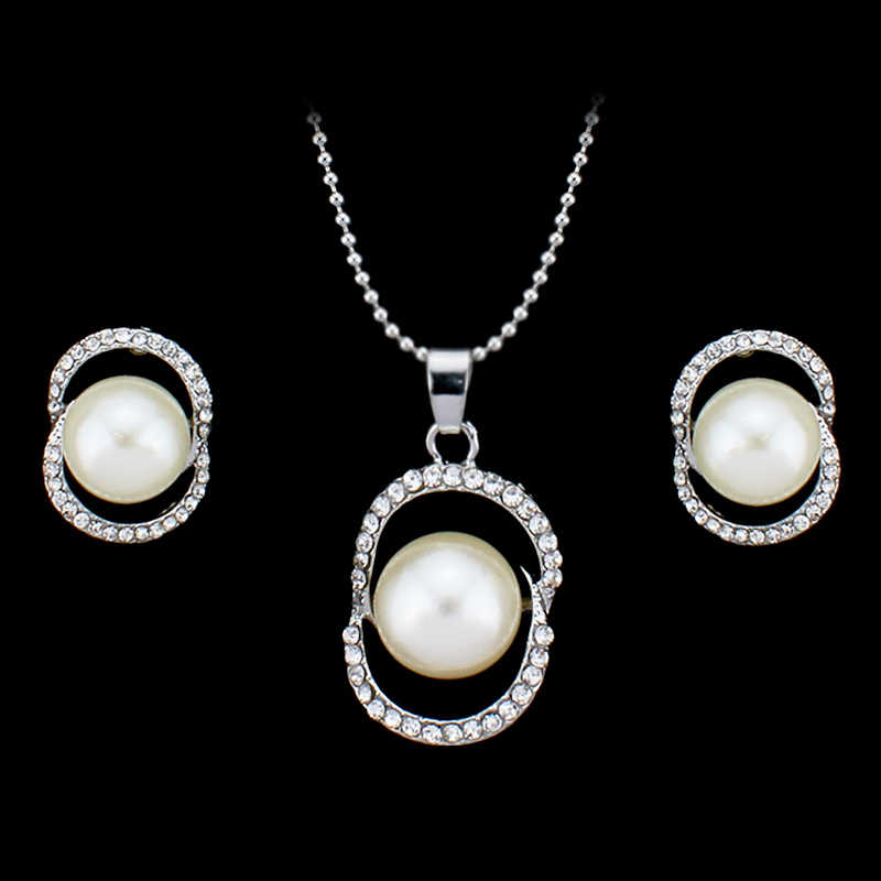 Bijoux Luxury Double Simulated Pearl Jewelry Set For Woman Fashion Dubai Crystal Necklace Earrings Wedding Accessories gift