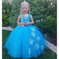 Snow Flake Princess Elsa Tutu Dress Winter Baby Girl Blue Birthday Party Tutu Dresses Kids Halloween