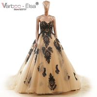 Robe De Mariage Princesse Sweetheart Embroidery Wedding Dresses Vintage Gold Black Red Lace Up Back Ball