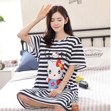 2017 Sleeping Skirt Female Short Sleeve Striped Student Sweet Lovely Loose Pajamas Women's Summer Sleeping Skirt