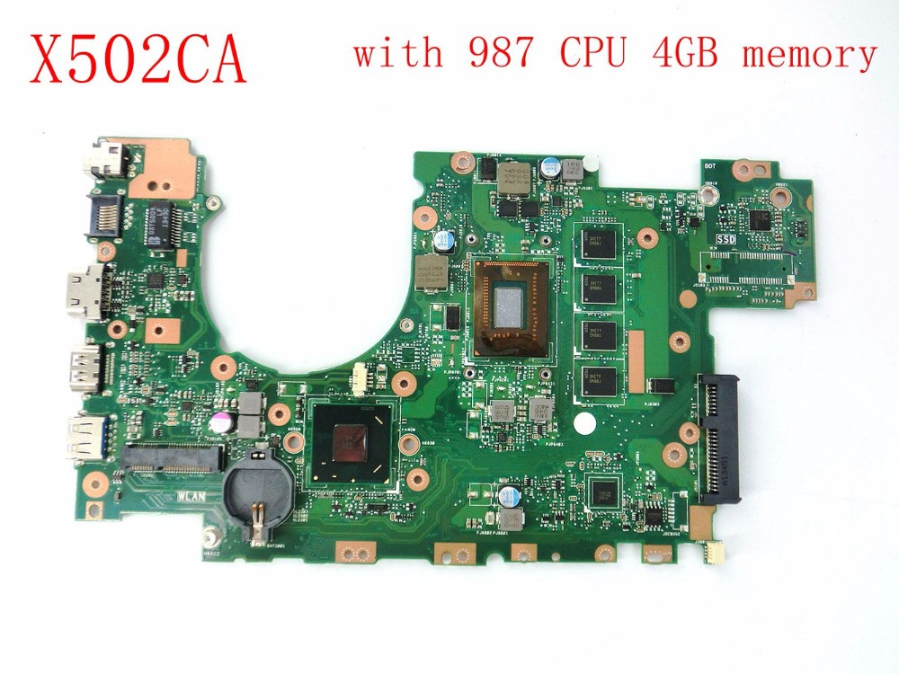 free shipping X402CA with 987CPU 4GB memory mainboard For ASUS X402CA X502CA laptop motherboard 60NB00I0-MBC080 tested good laptop motherboard for asus x502ca x402ca rev2 1 with 1007 cpu fully teated mainboard 60nb00i0 mb5080 mb 8 memory