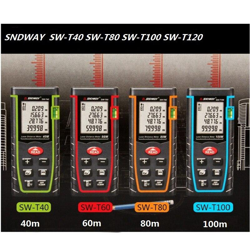 SNDWAY laser distance meter 40m 60m 100m 120m laser measuring instrument SW-T40 SW-T60 SW-T80 SW-T100 measure tape laser distanc sw 20w
