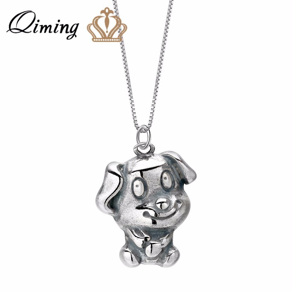 QIMING Antique Silver Pet Dog Necklace Baby Jewelry Birthday Gift Lovely Animal Pendant Zodiac Girls Necklaces