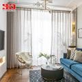 Роскошные тюлевые шторы из пряжи и льна для гостиной  высококачественные клетчатые блестящие прозрачные шторы для спальни  вуаль  сетчатая ...