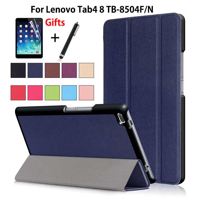 "Ultra Slim Case For Lenovo Tab4 8 TB-8504X TB-8504F TB-8504N 8"" Smart Cover Funda Tablet PU Folding Stand Skin Shell +Film+Pen"
