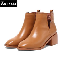 {Zorssar} 2017 NEW arrival fashion High heels Women Chelsea Boots Square toe thick heel ankle boots autumn winter female shoes