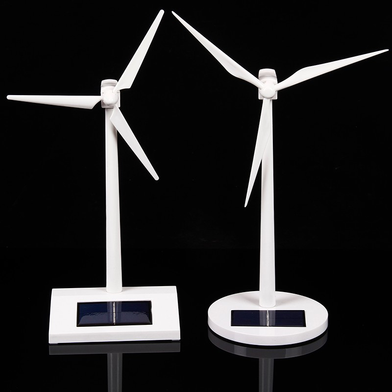 Science Toy Desktop Solar Windmill Model Solar Powered Rotating Base Science Fair Project Teaching Toys for Children Gifts solar powered head shaking cute hula couple desktop toy