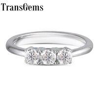 TransGems 0.45CTW 2.7mm Width Lab Grown Moissanite Diamond Half Eternity Wedding Band Platinum Plated Silver for Women