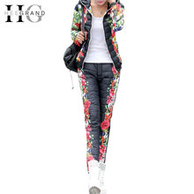 HEE GRAND 2016 Winter Jacket Women Casual Flower Printed Hooded Warm Thickening Parka (Coat+Pants Sets ) WAT270