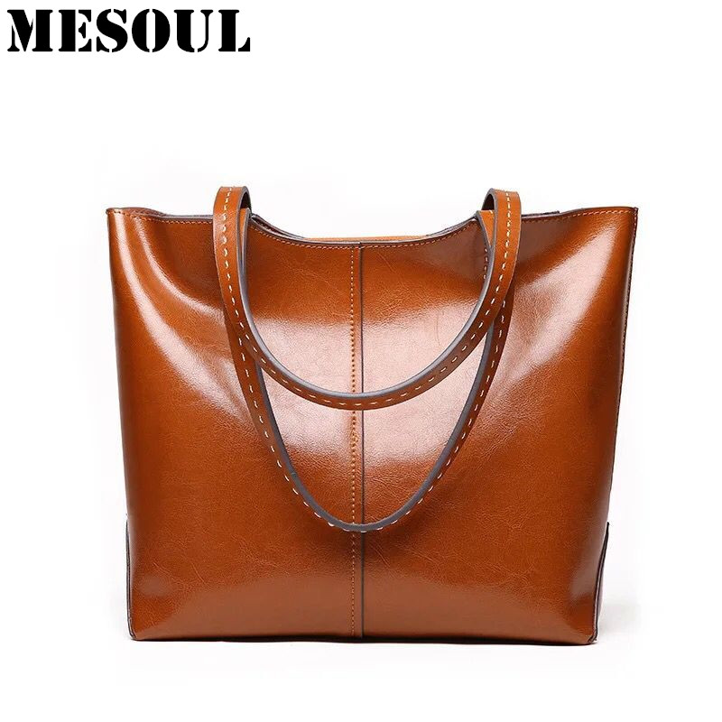 Women Bags Genuine Leather Handbags Large Casual Tote Luxury Vintage Famous Brands Shoulder Bags For Ladies Bolsas Bolsos Mujer