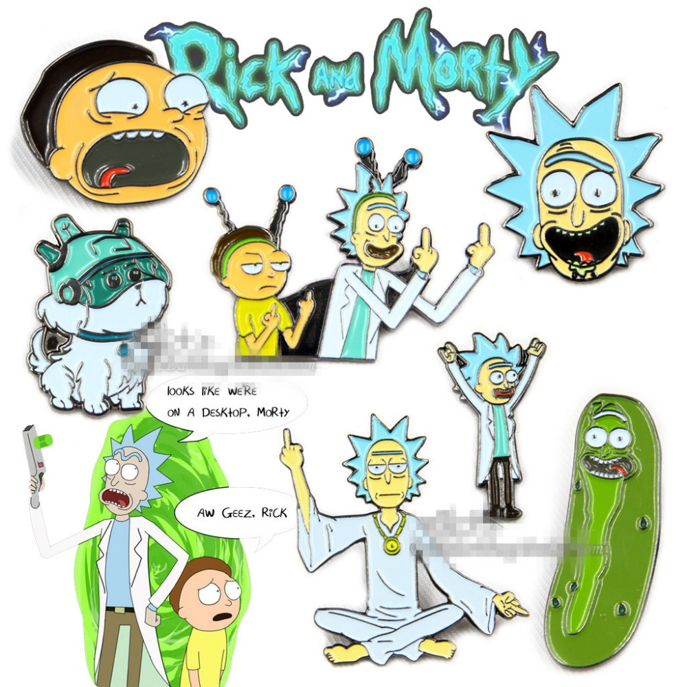 7pcs/lot Cartoon Rick And Morty Metal Metal  Peguin Donkey Pattern Tree House Rabbit  Badge