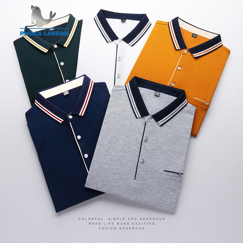 High Quality Tops&Tees Men's   Polo   shirts Business Men Brand Short Sleeve Solid Color Fake Pocket Turn-down Collar Mens   Polos