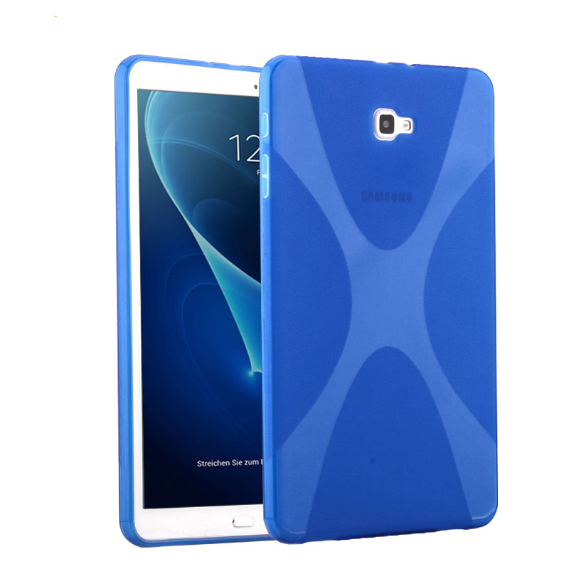 For Samsung Galaxy Tab A 10.1 (2016) T580 T585 X Soft TPU Silicon Case Semi Transparent Clear Gel Cover Skin Shell Case + Film new x line soft clear tpu case gel back cover for samsung galaxy tab s2 s 2 ii sii 8 0 tablet case t715 t710 t715c silicon case