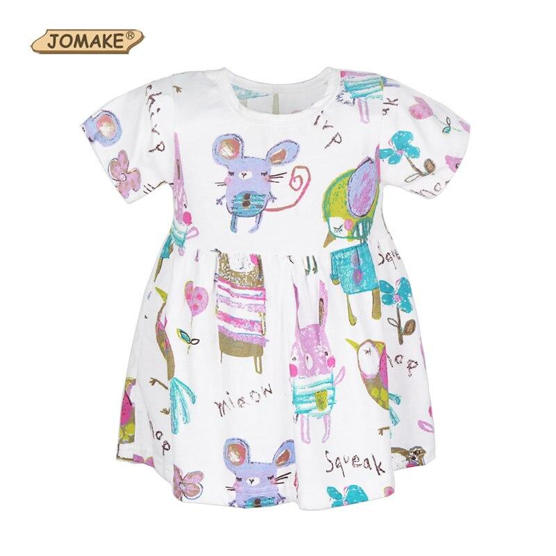 Girls Dresses Summer 2018 Cartoon Animals Graffiti Pattern A-line Princess Dress Girl Baby Kids Clothes Girl Dress Robe Fille