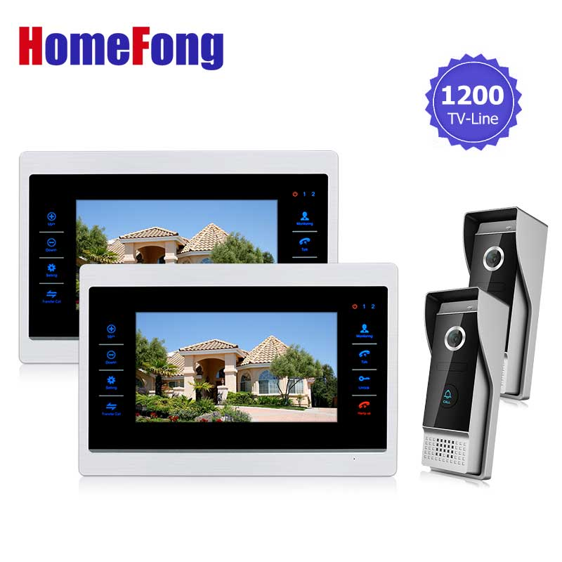 Homefong 10 inch HD Door Phone Video Doorbell System with Camera Wired Video 1200TVL 2V2 Home Apartment Entry Kit чехол флип повышенной защиты для sony xperia z4 compact z4 mini фиолетовый armor