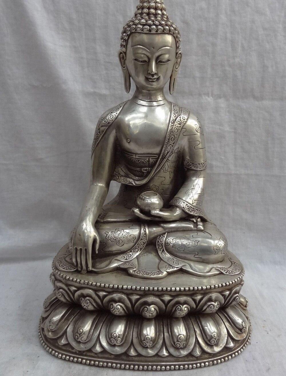 008931 13 Chinese Silver 8 Auspicious Symbol Tibet Lotus Shakyamuni Buddha Bowl Statue008931 13 Chinese Silver 8 Auspicious Symbol Tibet Lotus Shakyamuni Buddha Bowl Statue