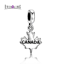 Black Enamel Canada Maple Leaf 100% 925 Sterling Silver Charm Beads Fit Pandora European Charms Bracelet M(China)