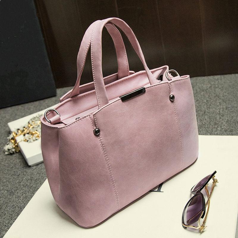 New Pink Color Hot Sale Women Bags Nubuck Leather Female Top-Handle Handbag Candy Color Women Shoulder Bag Rivet Messenger Bags