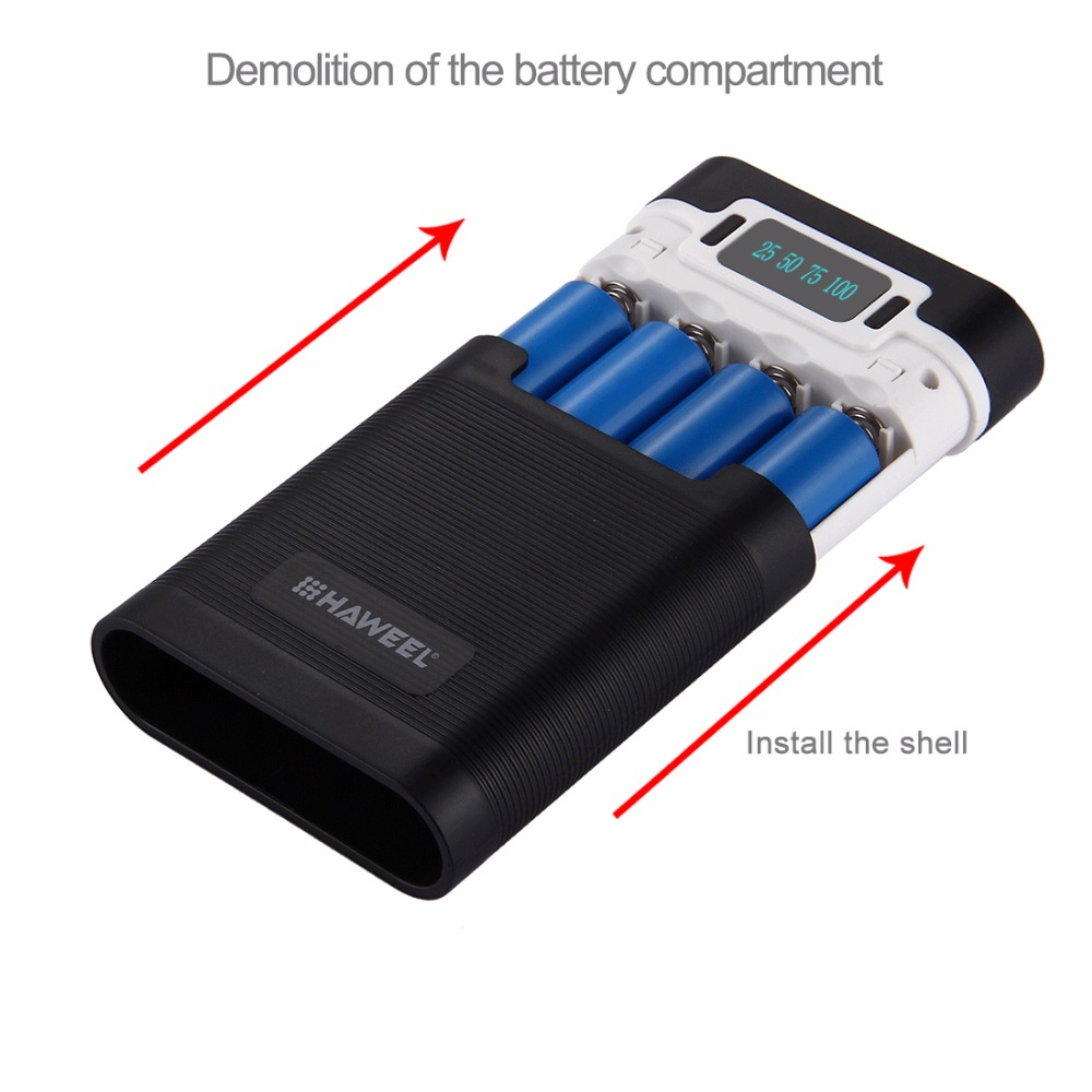 HAWEEL DIY 4×18650 Battery Portable 10000mAh Power Bank Box Shell with 2xUSB Output&Display for iPhone,Galaxy without Battery 5V