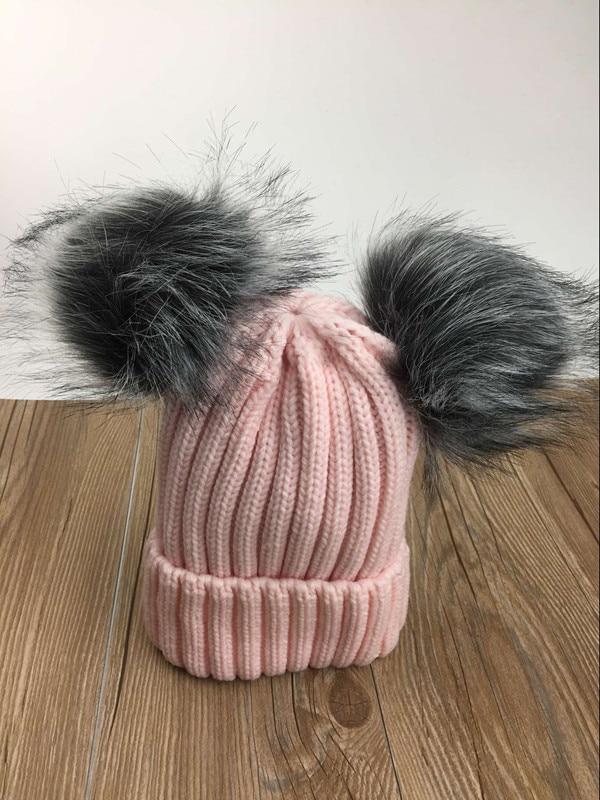2017 new women cute knitted acrylic fox fur pom pom beanies winter solid hat