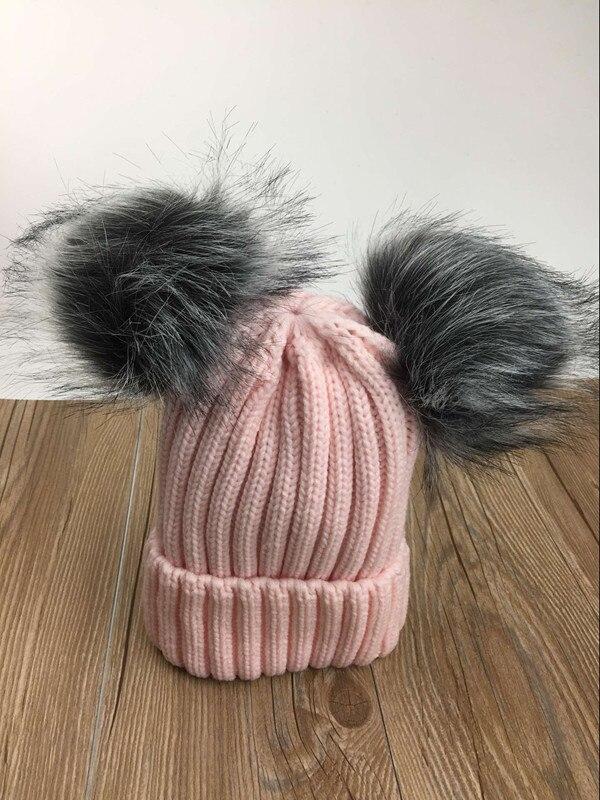 2017 new women cute knitted acrylic +fox fur pom pom beanies winter solid hat