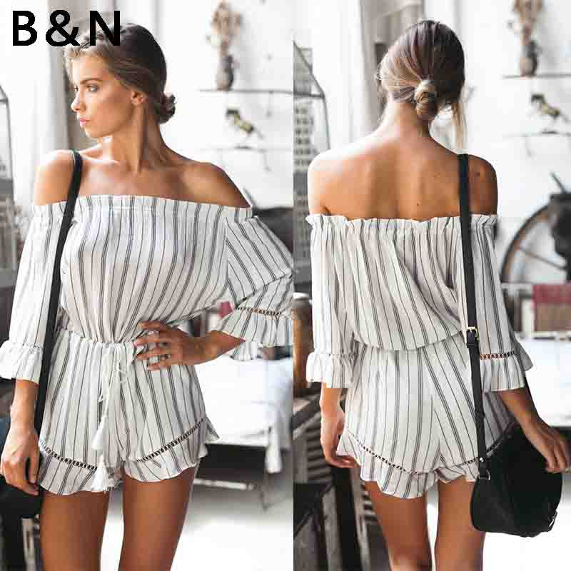 Off Shoulder sexy backless Jumpsuits Flounce Sleeve Striped Playsuit with belt elastic   waist overalls