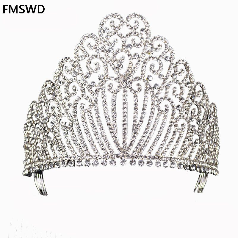 New Gold Silver Color Queen luxury Crystal Rhinestone Big Tiara For Wedding Large Crown Hair Accessories For Bride Headress
