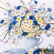 Needlework,DIY Ribbon Cross stitch Sets for Embroidery kit,Elegant Daisy Flower ribbon Cross-Stitch handwork wall home decor