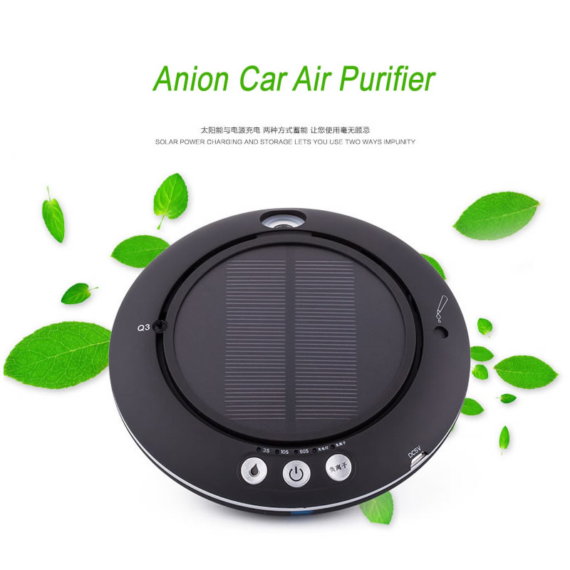 AP-02 Anion Car Air Purifier with LED light Aromatherapy essential oil Humidifier Solar/1200MA Battery Air Cleaner 4 Colors 3 colors solar battery air purifier aromatherapy oil air cleaner for car office home nanometer humidifier