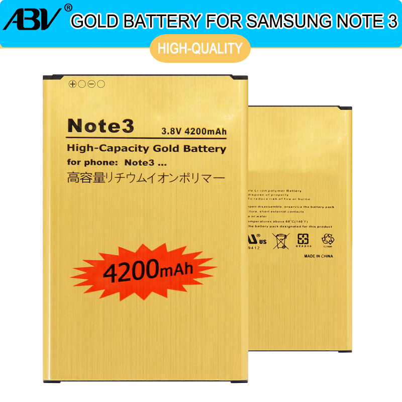ABV Note3 Batterie B800BE B800BC Batterie D'or pour Samsung GALAXY Note 3 Batterie Note3 N9006 N9002 N9005 N9008 N909 Batterie