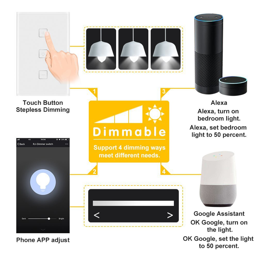 Wlan Dimmer Us Uk Eu Smart Home Dimmer Switch Touch Wireless 1 Gang Switch Work With Alexa Google Home Ifttt App Remote Control
