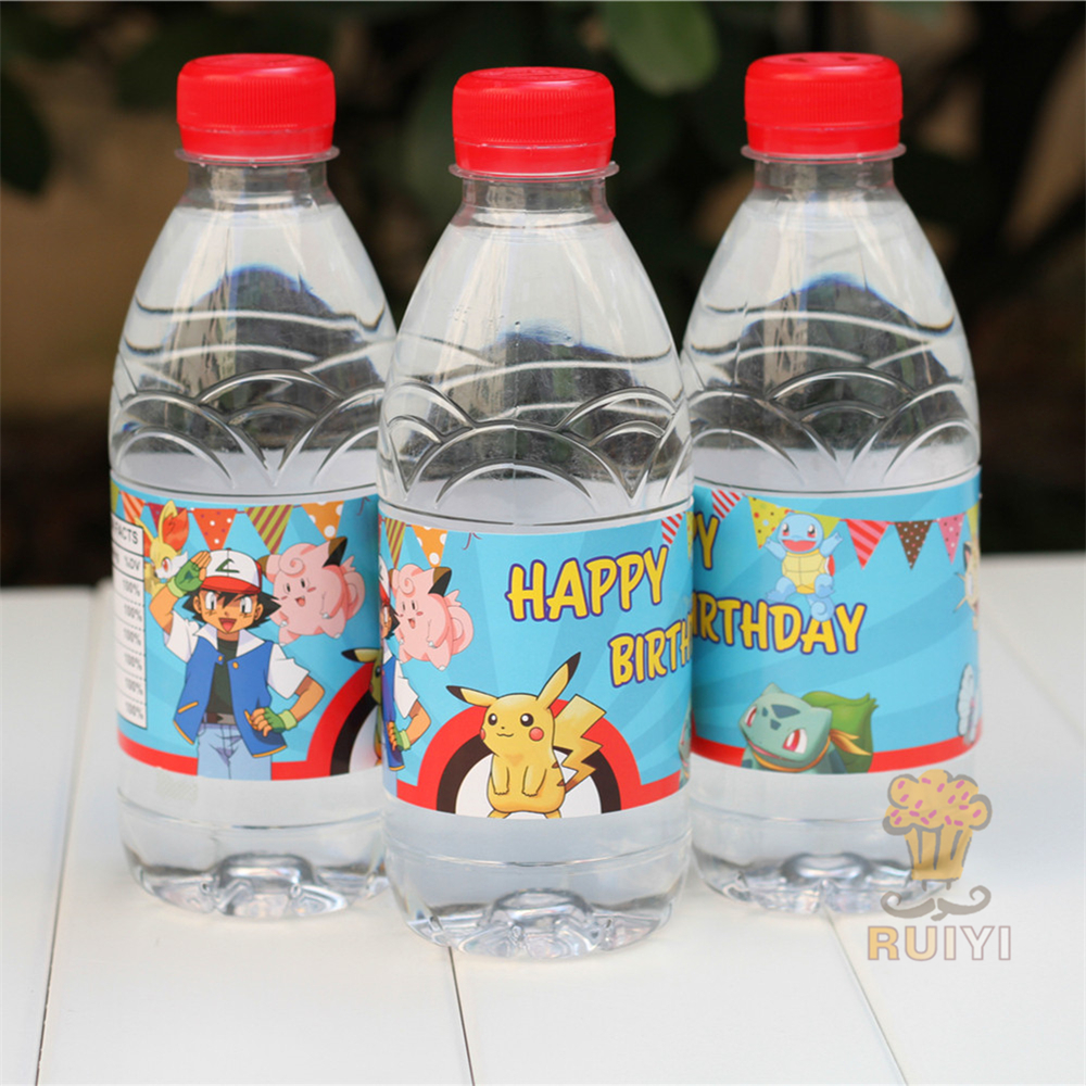 24pcs cartoon pokemon go Pikachu water bottle label candy bar decoration kids birthday party supplies baby shower party favor