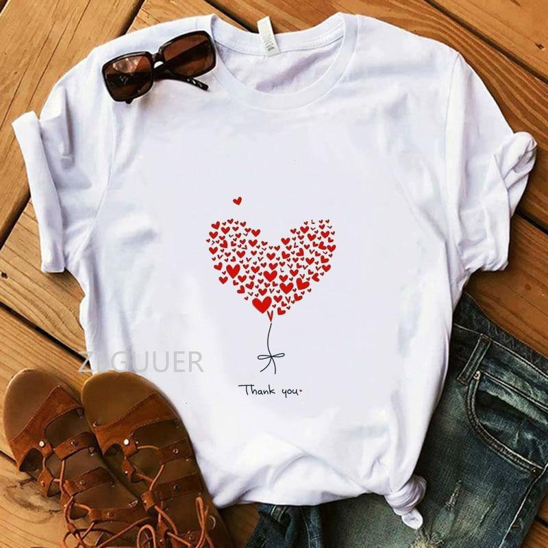 Thank You Heart T-Shirt Girl 100% Cotton Casual Women T-Shirts Soft White Tees Summer Thanksgiving Lady Illustration T-Shirt