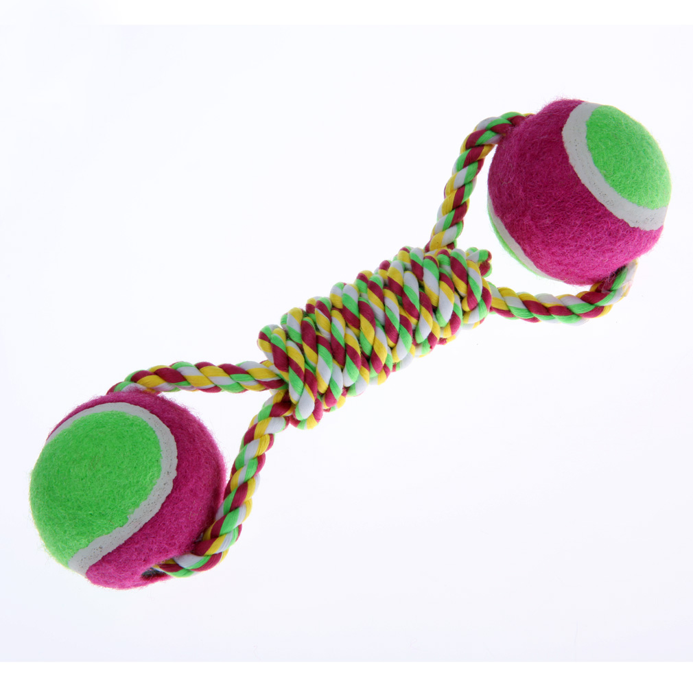 Free Shipping Dog Rope Chewing Toy Dog Cotton Rope Tennis Ball