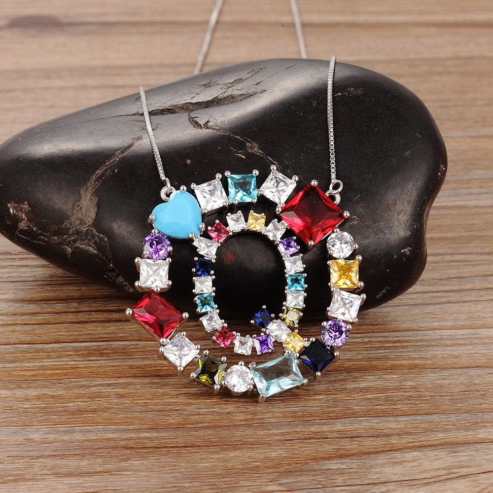 Hot Sale Classic Colorful Stone Letter Necklace Jewelry Women Pendant Unique Design Silver Chain for Girl Decoration Best Gift