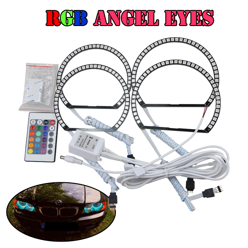 5050 LED 180 SMD RGB 16 Colors Angel Eyes Halo Ring Set Headlight DRL For BMW E46 Non-Projector 3 series led rings white 3014 smd led angel eyes headlight halo ring marker 131mm 145mm for bmw e46 non projector