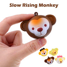 New fun small stress-relieving relieved Cute Monkey Stress Reliever Scented Super Slow Rising Squeeze Toy Keychain 7cm(China)