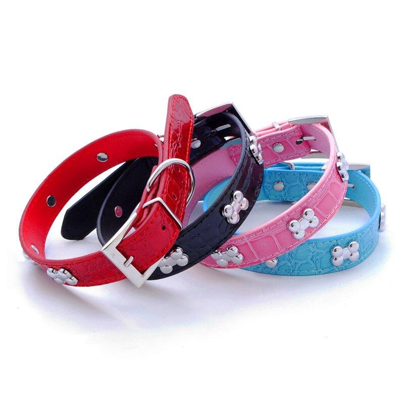 Nueva moda Pu cuero collar de perro Huesos de metal decorar collares - Productos animales