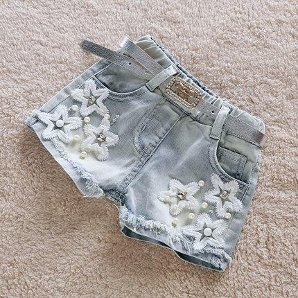 High Quality Girls Fashion Denim Shorts With Pearls 2018 Summer Children's Tassels Star Spliced Short Pants Kids Hot Trousers X9