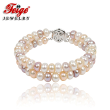 Free shipping Feige jewelry Beautiful double circle natural pearl bracelet 7-8mm multicolour fashion