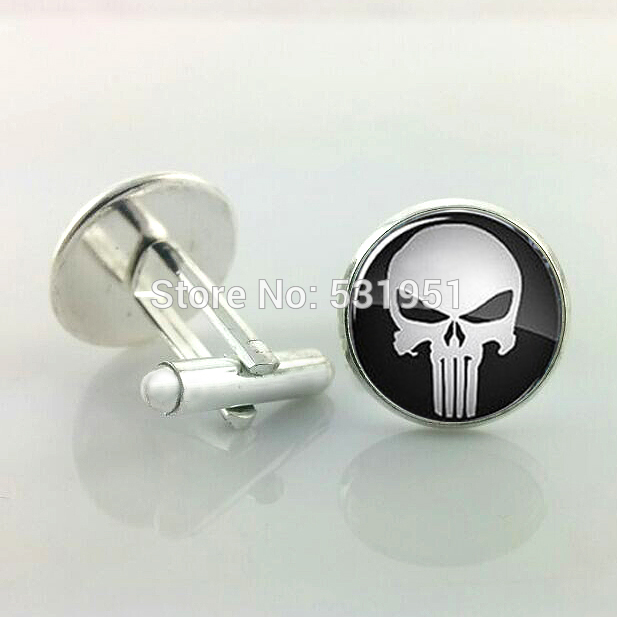 J43 Wholesale PUNISHER Cufflinks,Skull Cufflinks For Men,gift For Him,Men Accessories,men Cufflinks High Quality