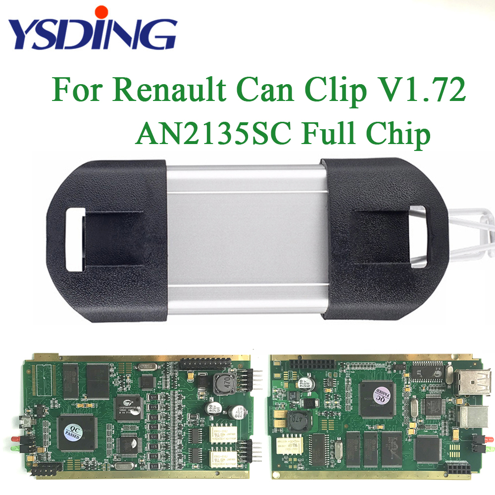 V172 For Renault Can Clip CYPERSS AN2135SC Full Chip OBD2 OBDII Auto Diagnostic Tool Scanner Multi-Language Code Reader multi language v159 latest version renault can clip professional auto obdii diagnostic tool with high quality cnp shipping