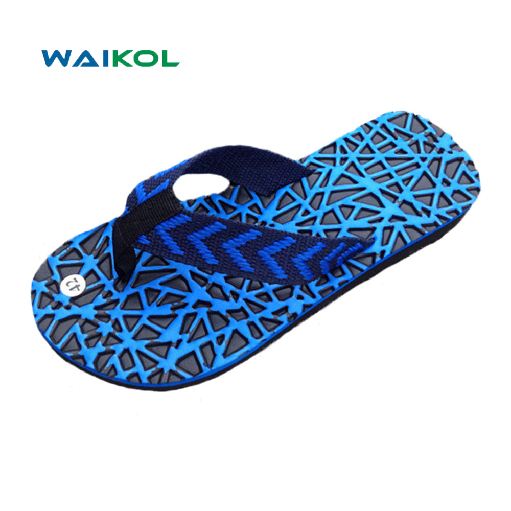 Waikol Summer Men Flats Sandals Men's Non-slip Home Beach Slippers Mixed Colors Massage Slippers Casual Shoes For Men lanshulan bling glitters slippers 2017 summer flip flops platform shoes woman creepers slip on flats casual wedges gold