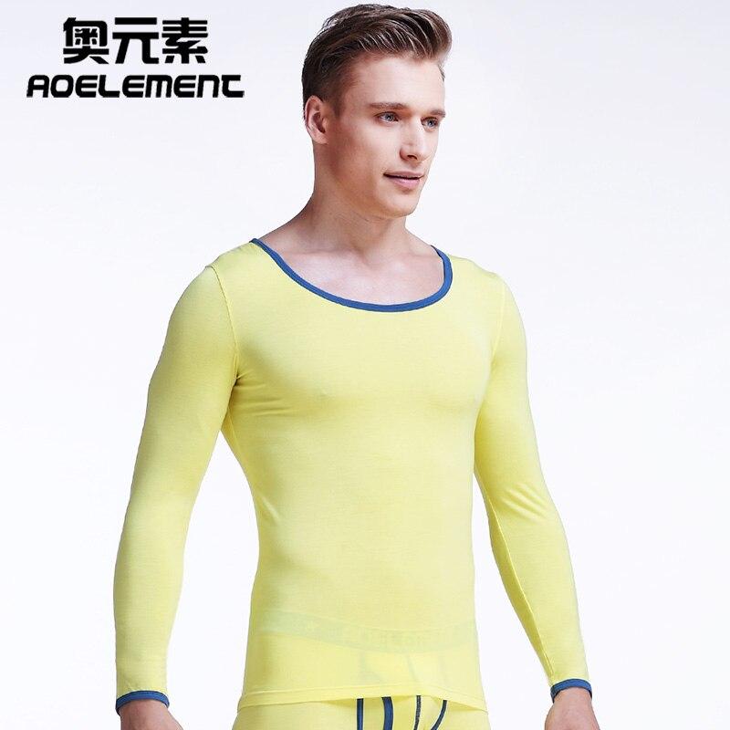 Men's tight foundation round neck modal underwear autumn clothes thin shirt long john men thermal mens bottoms