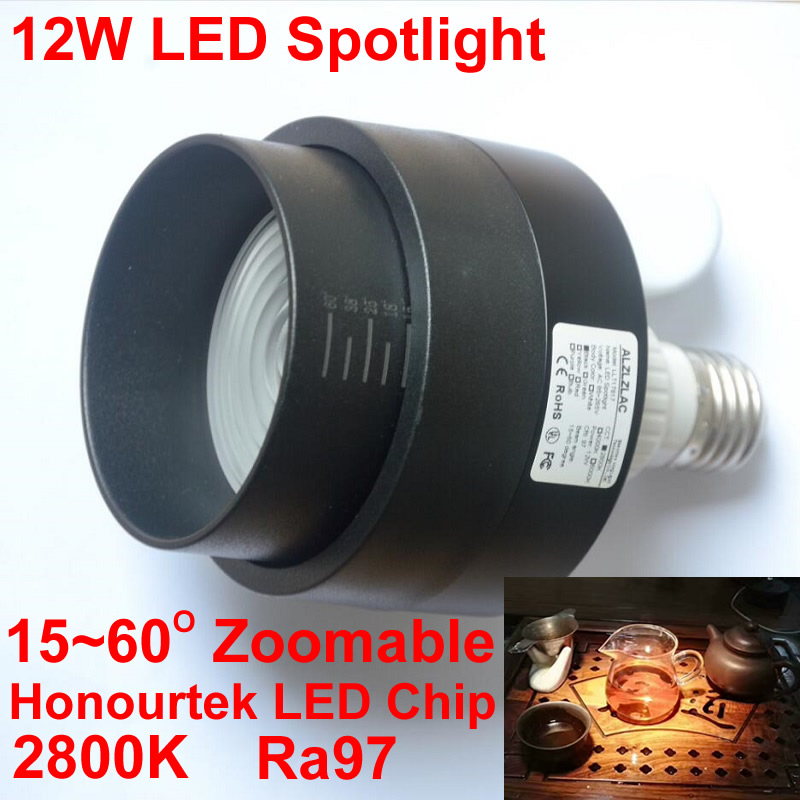 New Zoom Fresh Light Led Spotlight 12W E27 2800K Focusing Spot Led Light Bulb Lamp Museum Kitchen Cabinets Lighting 110V 220V