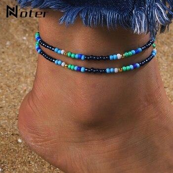 Noter New Fashion Anklets For Women Girls Dark Blue Tassel Foot Bracelet Summer Beach Jewelry Feet Accessories Best Friend Gift