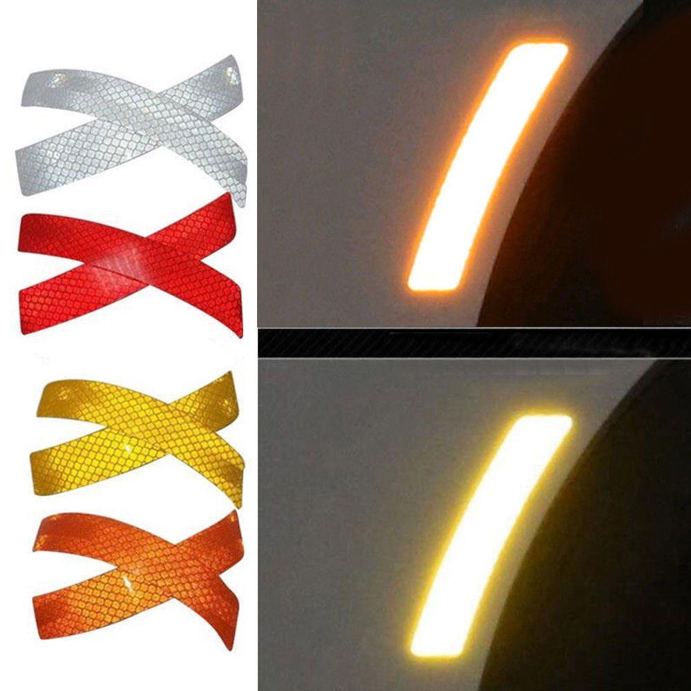 2pcs Car Door Sticker Decal Warning Tape Car Reflective Stickers Reflective Strips Car-styling 5 Colors Safety Mark 14*2.3cm
