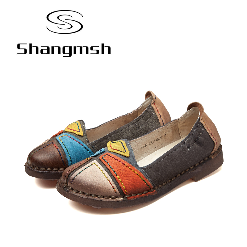 Shangmsh Women Flat Shoes Casual Genuine Leather Female Slip On 2017 New Fashion Soft Driving Loafer Flats Pregnant Shoes new brand autumn women metal flat shoes casual lady slip on flats soft soled natual leather pointed toe shoes comfort female