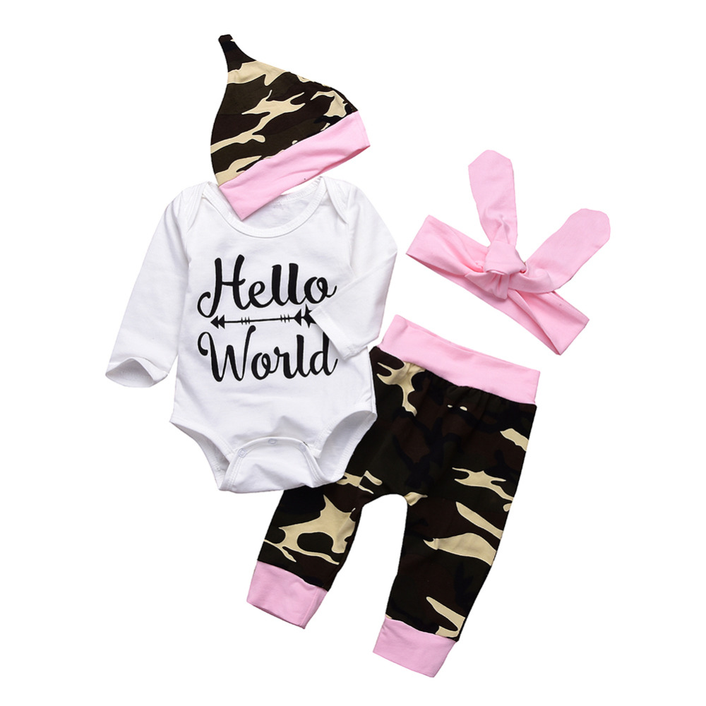 Newborn Baby Girl Camouflage Clothes Set bay caps hat baby headband pink cotton romper outfit summer clothes set